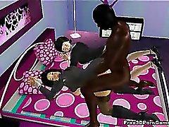 De dos ataron Chicas de 3D de obtener follada de una perno del ébano