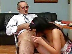 Beauty pleasures her old slavemaster zealously