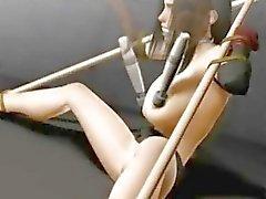 Sidottu 3d hentai tyttö Tifa saada toyed