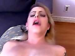 Tattooed busty blonde sucks huge dick and fucks in POV