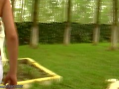 Blonde shebabe with perfect boobs masturbates in the park