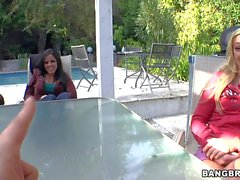 Porn girl Ally Kay and her friends bare all for lucky dudes