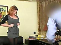Fake agent enjoying darkhair pussy