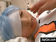 Cosplay cutie lies in bed with an injury but still, she manages to suck a guy's cock