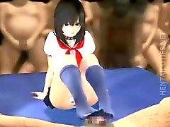Sexy 3D anime öğrenci çarptım