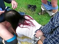 whore wife gang bang outdoors by 4 strangers