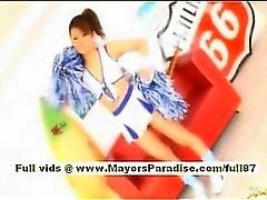 Risa Tsukino Asiatin in Cheerleaderin bekommt leckte