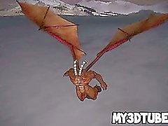 Rossa in 3D viene scopata hard dal drago Horned