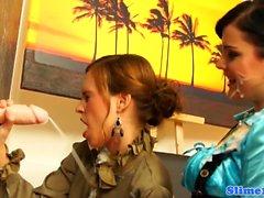 Glamcore les licks bukkake pussy at gloryhole