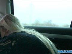 Öffentliche Agenten Enge Pussy in einem Auto gefickt