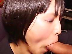 Skinny uniformed jap tgirl gets cum in mouth