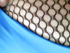 Rückansicht Netzstrumpfhose blau Trikot