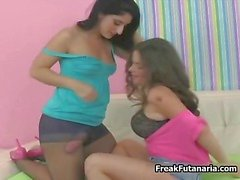 Two hot Latina girls with a giant cock part6