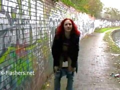 Public flashing of redhead milf Monica exposing tits and peeing outdoors
