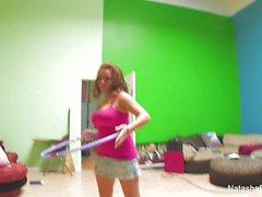 Sexy Natasha plays and masturbates on set