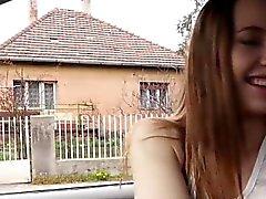 Teen stranded Olivia Grace outdoor fuck