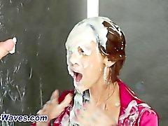 Messy bukkake slut drains a fake cum