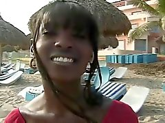Chica Negro Buttfucked En negro polla On the Beach