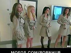 coquines forte poitrine en lingerie chaude & les talons baisent grosses queues à la réception débauche
