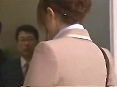 Asian secretary gets gangbanged in the elevator for a creamy facial