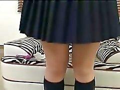 Student uit koreaanse aanraken van haar clit
