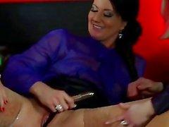 Classy euro pissing babes using dildo