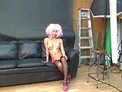 Japanische rosa Haaren und Ebony Lesben