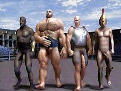 do jogo olímpico gays gracejo cómico engraçado do banda desenhada 3d ilustrações de anime