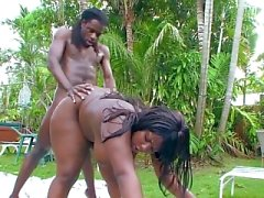 Very chubby ebony girl gets sex
