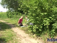 Foxy blonde gets nailed hard outdoors