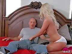 Petite blonde Aaliyah Love in white panties gets nailed