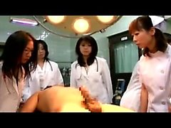 Insatiable Asian doctors sucking and stroking a hard prick