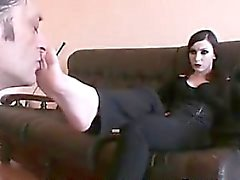 Smoking Goth Gets Her Feet Worshipped