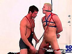 Connor plugs both of bound Blue's holes with dick and dildo