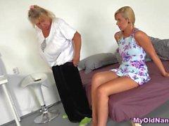 Granny nanny lesbian action