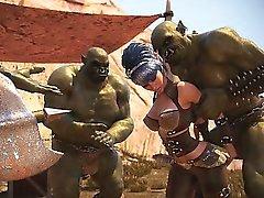 3D Babes zerstört von des brutalen Orcs !