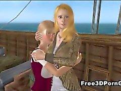 Foxy 3D-sarjakuva blondi tyttö imevätmunaa