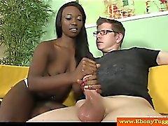 Petite ebony black slut tugs white cock