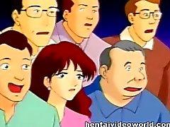 Anime Hausfrau Ruft auf die Bühne onaniert