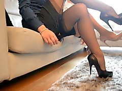 2 hot sexy secretary looking at tributes (FF nylons)