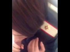 Phone258real airhostess blowjob in toilet airplane