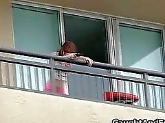Caught big teen tit baisée sur le balcon