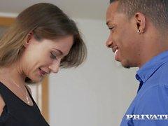 Cute white girl services a big black cock interracial porn