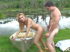Blonde shemale fucked in the brazilian outdoors