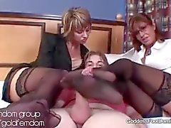 Hotel double stocking footjob