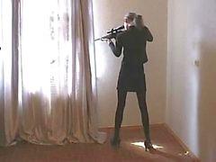 Unge Tchetchen Krypskytten av ryssar soldat