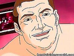 Hausmädchen dien großen Schwanz bei Anime Fellation