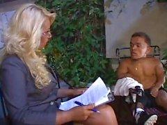 Busty perverted slut Pamela Butt fucks hard with a midget