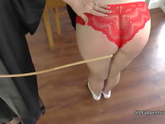Mistress Granny Lacey canes her younger pupil before having