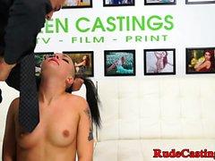 Casting tattooed teen jizzed in mouth